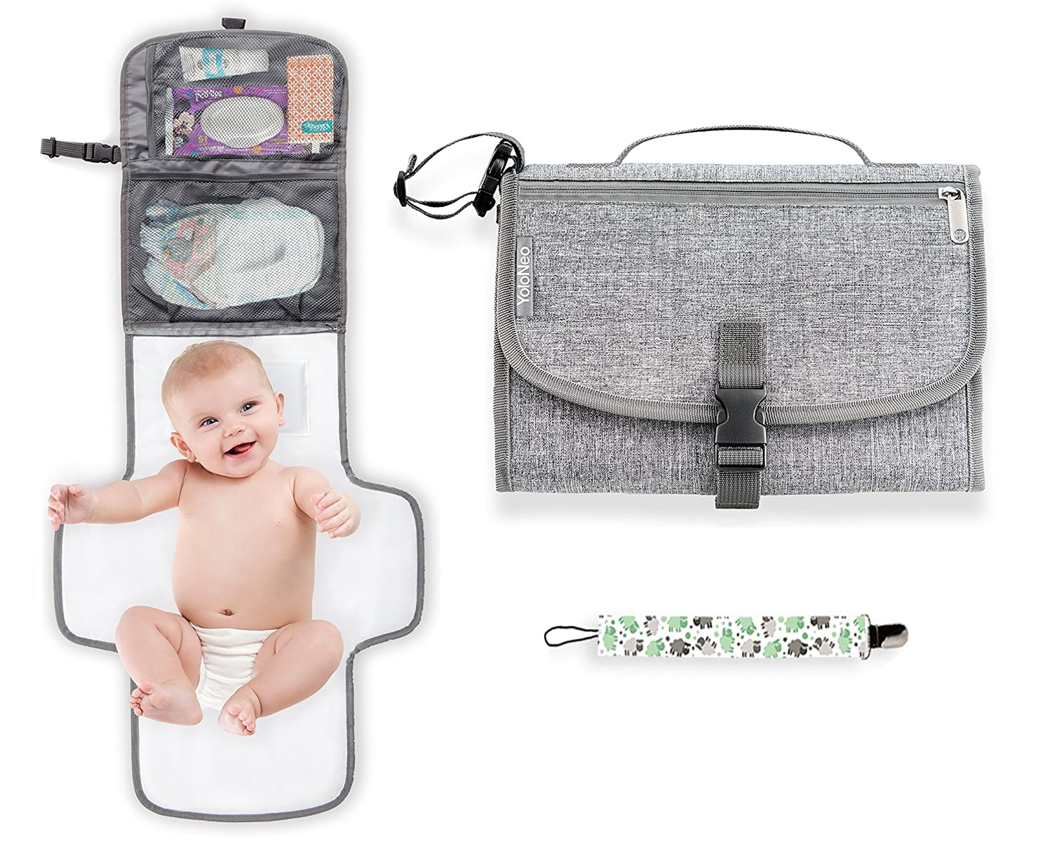 YoloNeo Portable Changing Pad | Diaper Clutch | Travel Changing Pad | Baby Shower | Lightweight Wipeable Detachable Mat Station Kit | Head Cushion and 3 Pockets | Bonus Pacifier Holder | Grey White