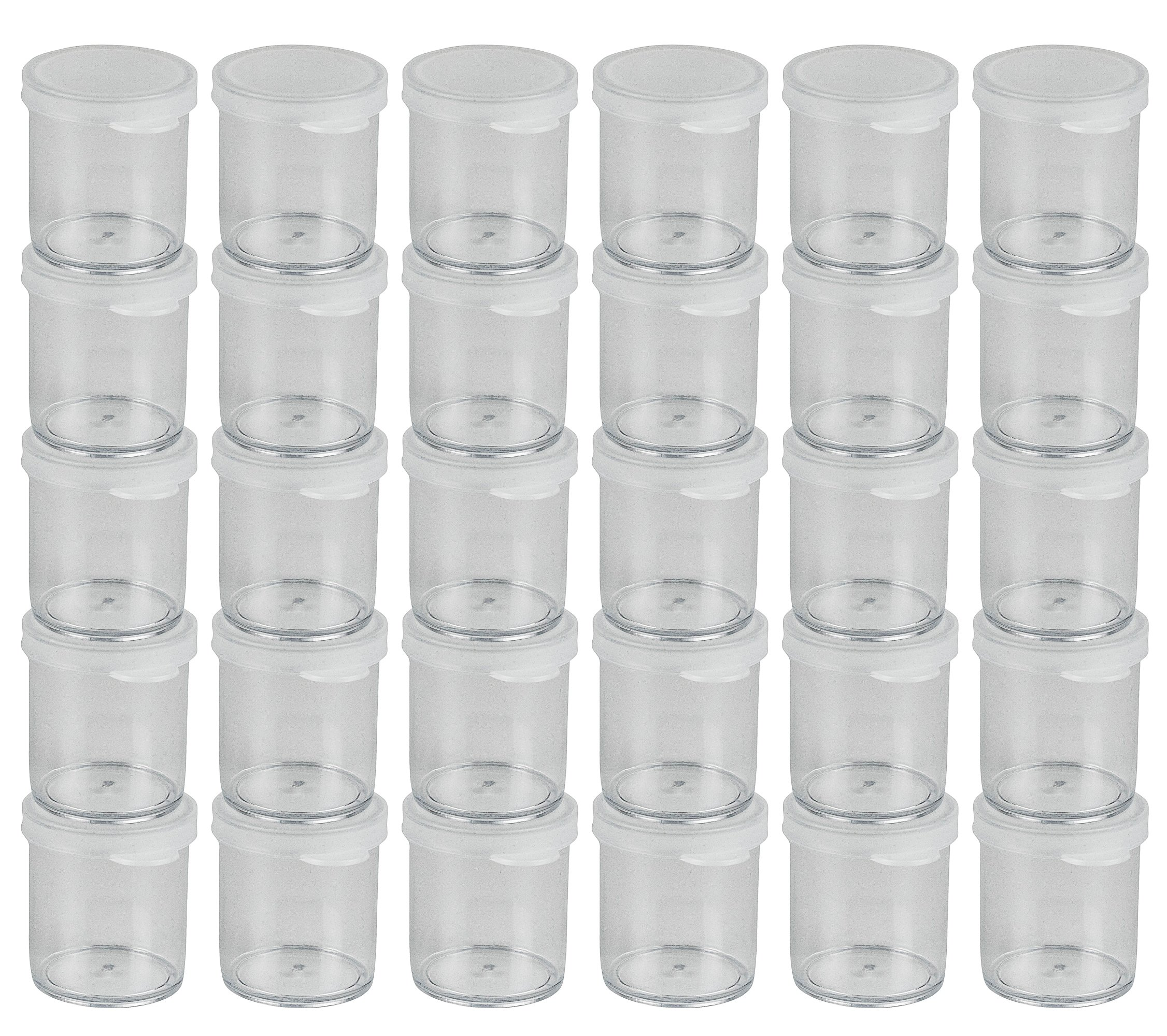 DecorRack 30 Plastic Mini Containers with Lids 1oz Craft Storage