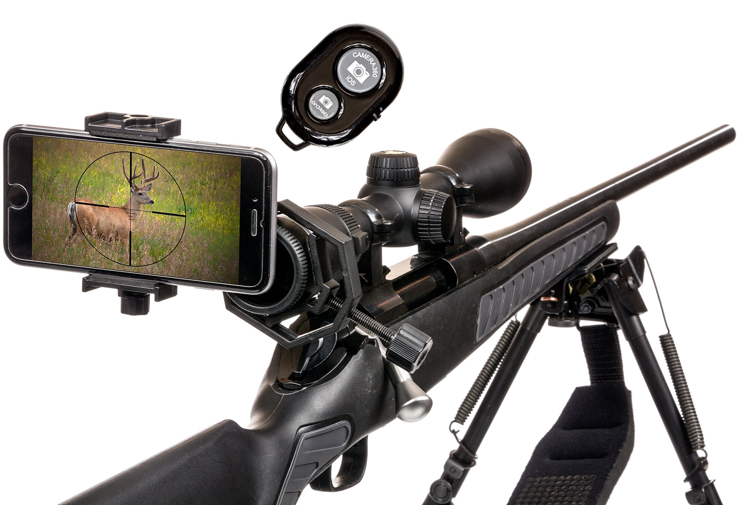 Spotting Scope Phone Adapter Kit - Universal Digiscoping Binocular, Telescope, Microscope, Monocular w/BT Remote. Make your Scope a Wireless Camera