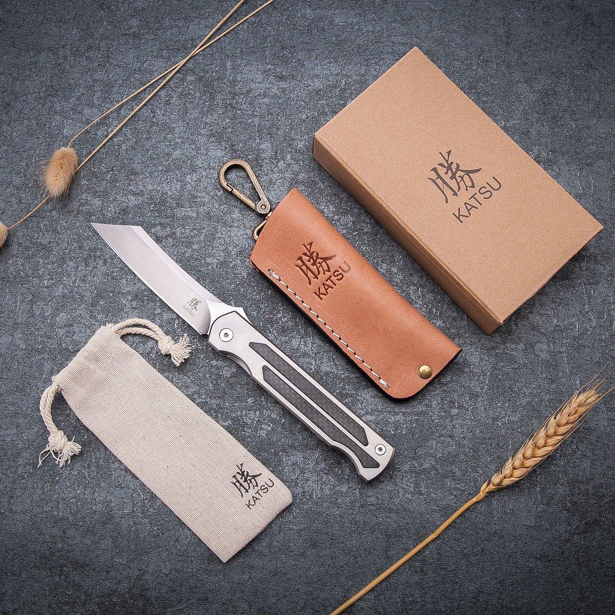 KATSU Camping Pocket Folding Japanese Knife, Titanium & Carbon Fiber Handle, Frame Lock, Stonewashed Cleaver Razor Blade, Leather Sheath by KATSU (Image #4)