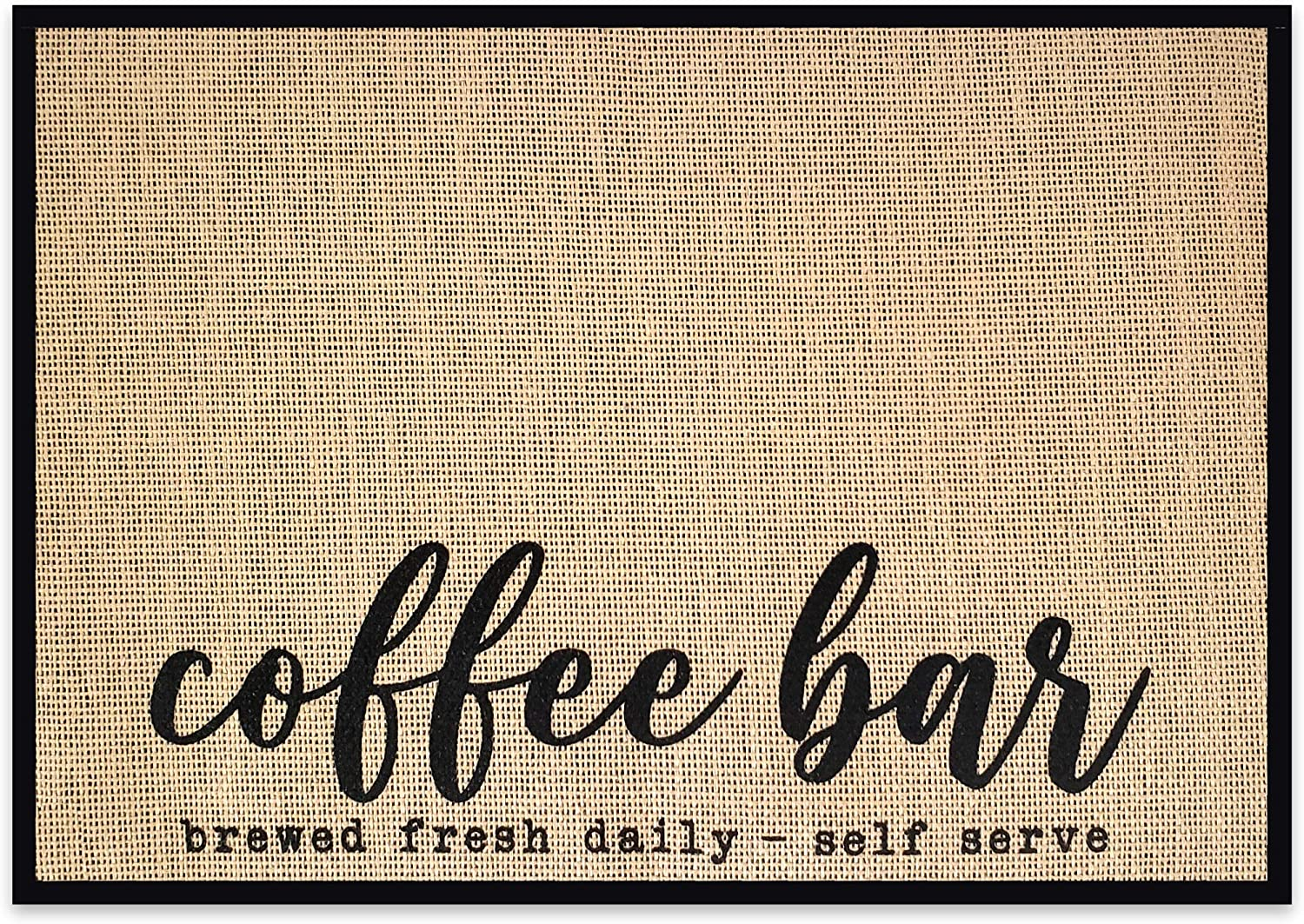 "New Mungo Coffee Bar Mat - Coffee Bar Decor for Coffee Station - Coffee Bar Accessories for Coffee Decor - Brewed Fresh Daily Self Serve Coffee Mat - Burlap Placemat with Fabric Backing - 20""x14"""