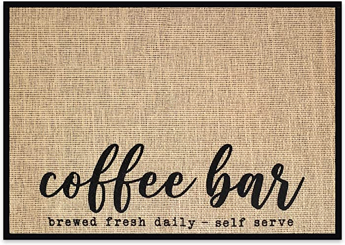 """New Mungo Coffee Bar Mat - Coffee Bar Decor for Coffee Station - Coffee Bar Accessories for Coffee Decor - Brewed Fresh Daily Self Serve Coffee Mat - Burlap Placemat with Fabric Backing - 20""""x14"""""""