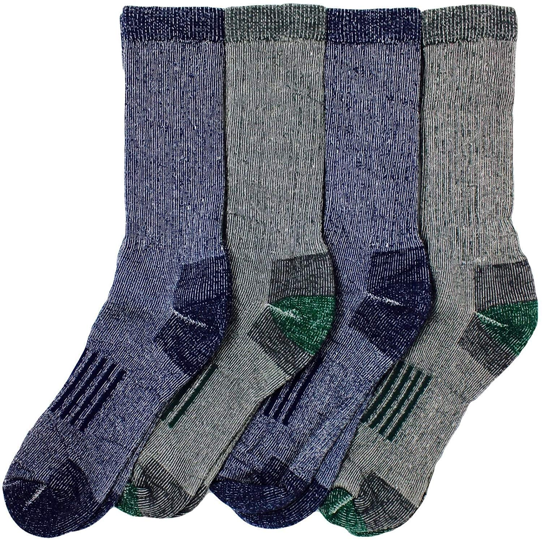 Kirkland Signature Mens Outdoor Trail Socks Merino Wool Blend 4 Pairs, (Blue, Black), Large (Shoe Size 10-13)