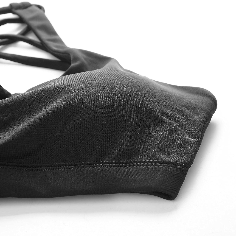 Soutien-Gorge Sport Sangles Crois/ées avec Rembourrage Amovible pour Fitness Yoga Running Gym Confortable sans Couture 4 Couleurs en Option