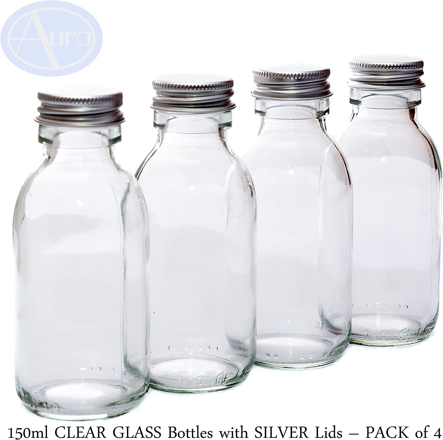 Pack de 4 botellas de cristal (150 ml) con tapa de color plateado.