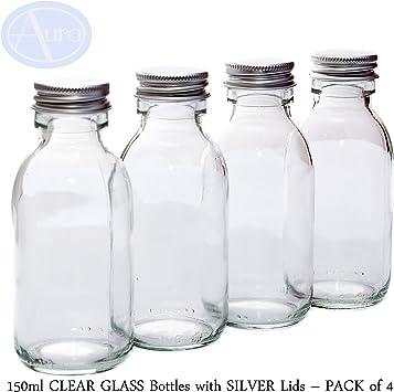 Pack de 4 botellas de cristal (150 ml) con tapa de color plateado ...