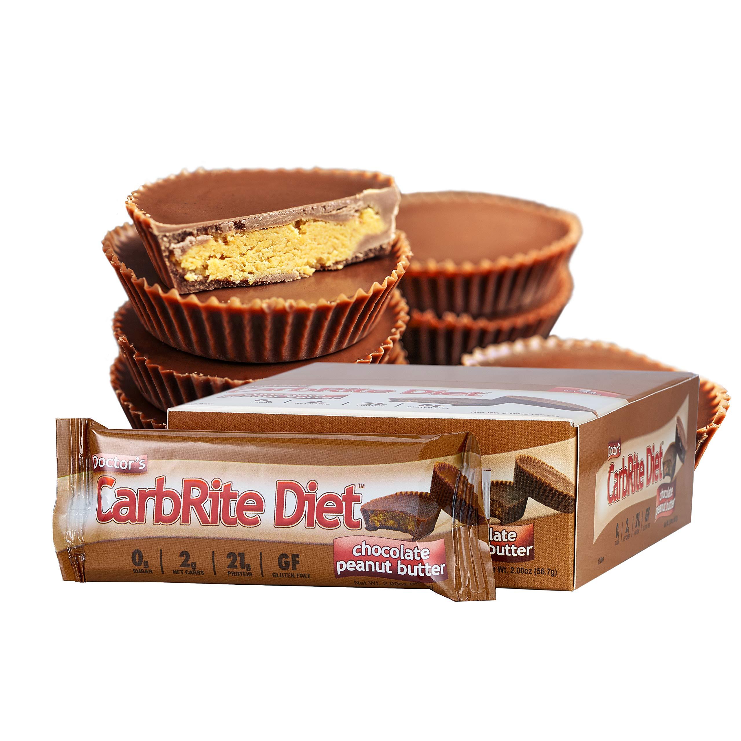 Universal Nutrition Gluten Free, Sugar Free, Doctor's CarbRite Diet Protein Bar Chocolate Peanut Butter 2 oz bar 12 Count by Doctor's CarbRite Diet