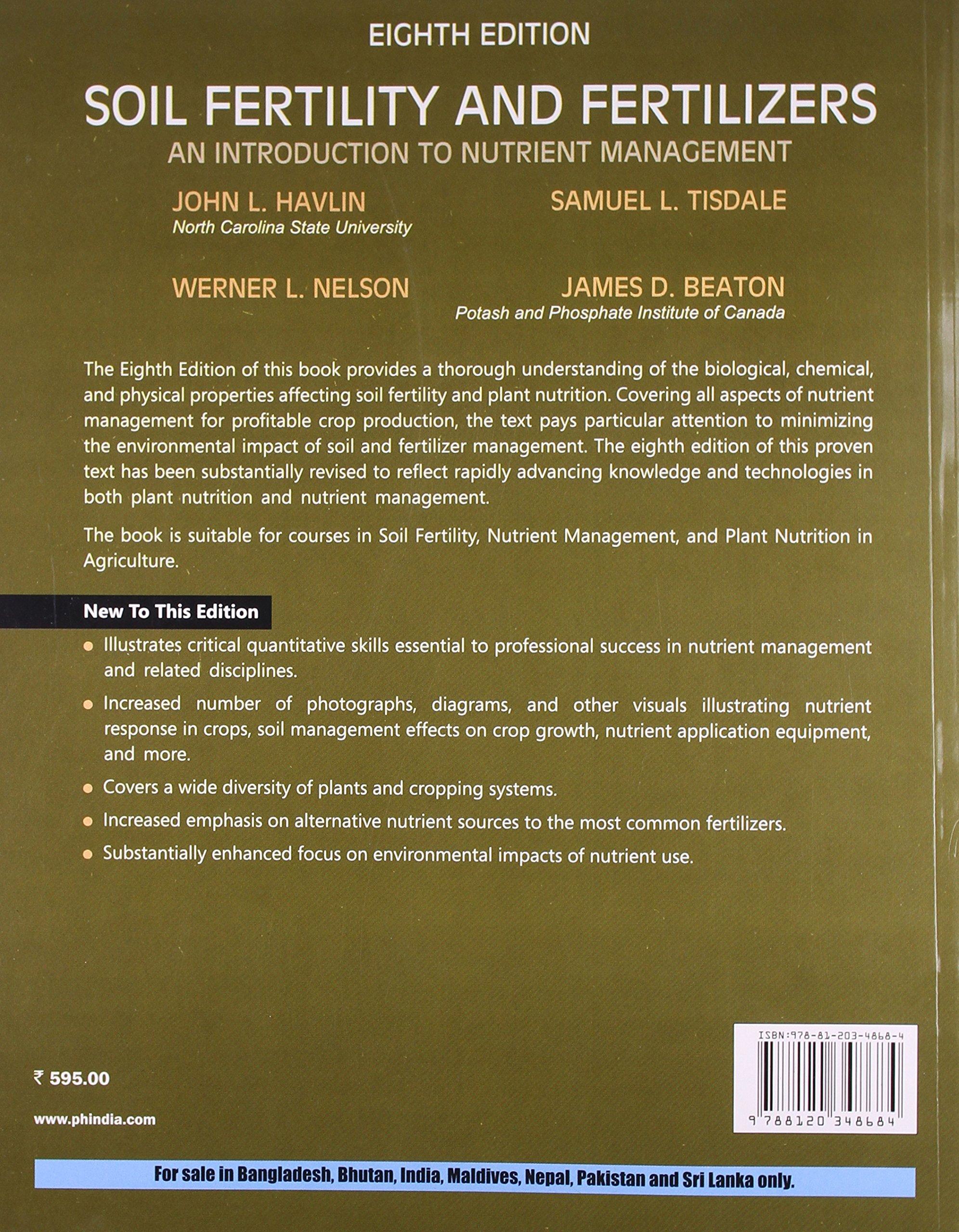 Soil Fertility and Fertilizers (8th Edition): John L Havlin: 9788120348684:  Amazon.com: Books