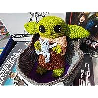 Baby Yoda The Mandalorian tejido crochet nuevo 20cm incluye nave,plato de sopa y ranita