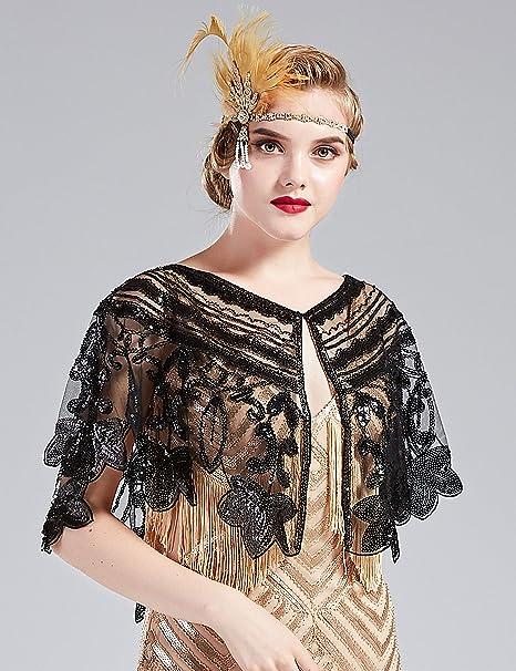 keland Ann/ées 1920 Femmes Ch/âle Paillette Perl/é Cape du soir Hausser les /épaules D/éco florale Wraps Noir