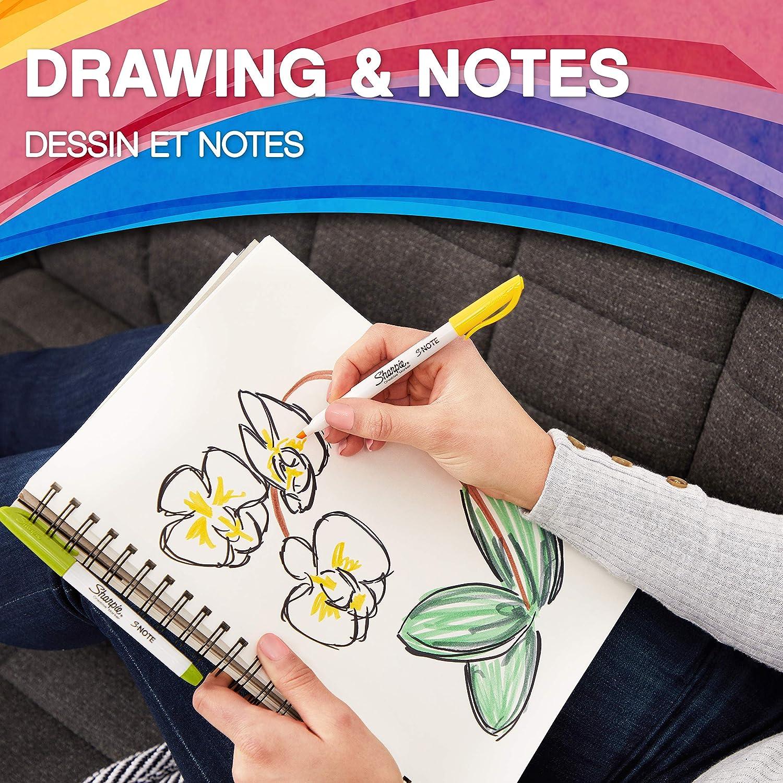 escribir Punta biselada Para subrayar Colores variados Sharpie S-Note rotuladores creativos de colores 4 unidades dibujar y mucho m/ás