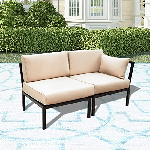 LOKATSE HOME 2 Piece Corner Armless Sofa Outdoor Furniture Sectional Couch Set Patio Loveseat