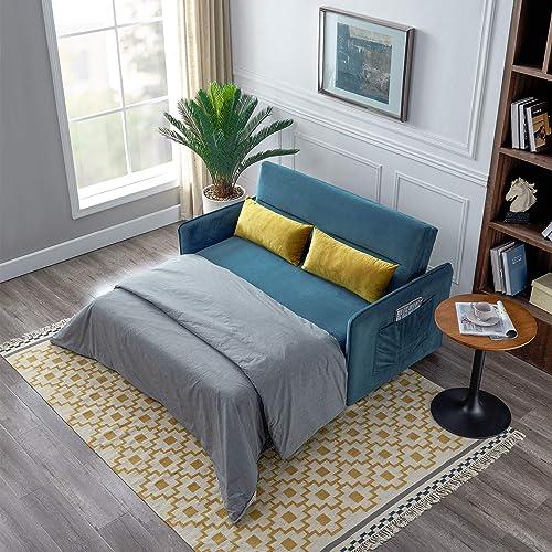 Merax Sleeper Sofa Couch Compact Soft Velvet Sofa Bed Pull-Out Sleeper Sofa 2 in 1 Sofa Bed with 2 Lumbar Pillow ,Blue