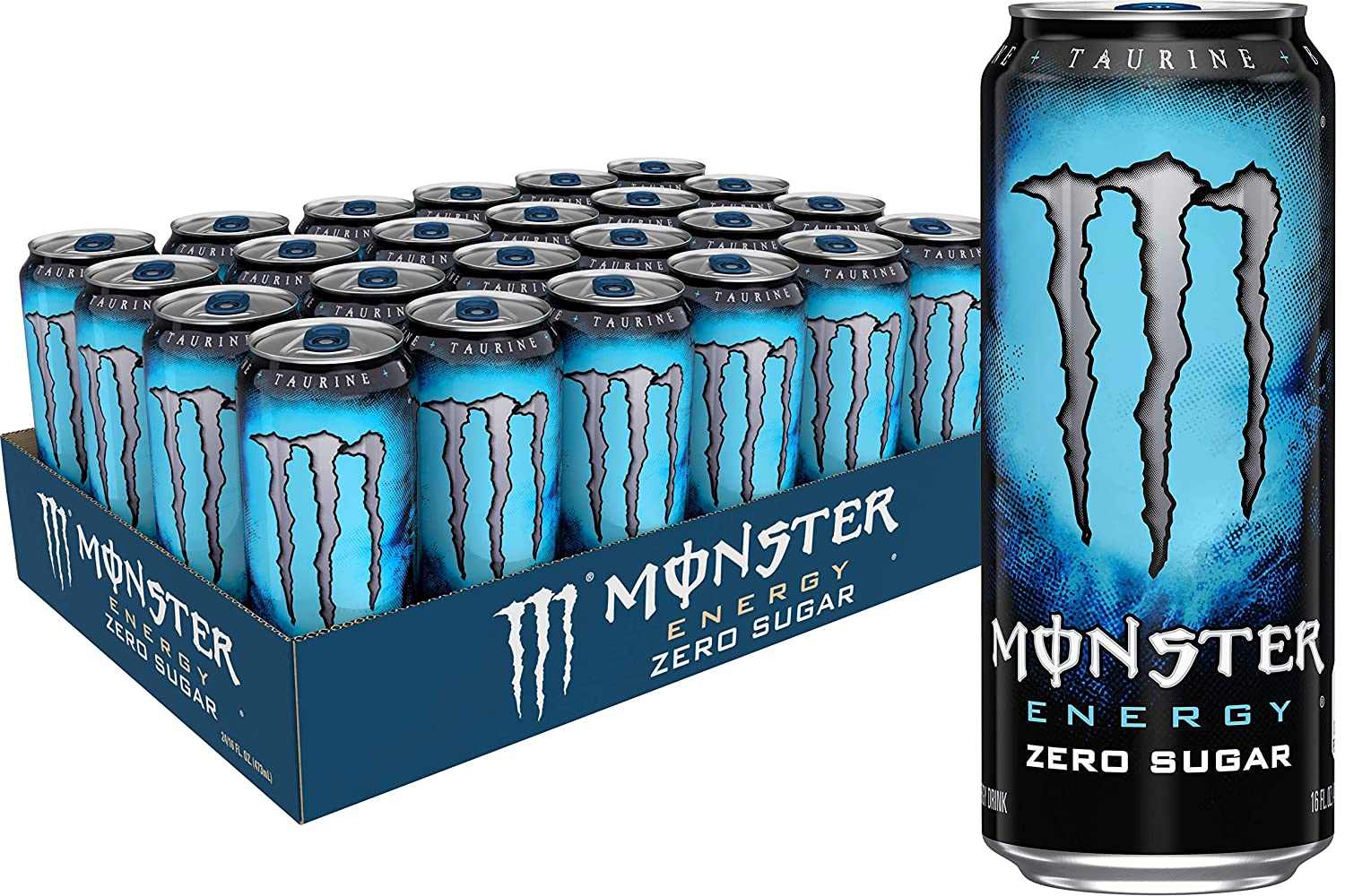 Monster Energy Zero Sugar, Low Calorie Energy Drink, 16 Ounce (Pack of 24)