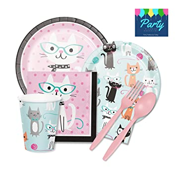 Purr-fect Cat Party Supplies Kit - Tableware for 16 Guests - Plates Napkins  sc 1 st  Amazon.com & Amazon.com: Purr-fect Cat Party Supplies Kit - Tableware for 16 ...