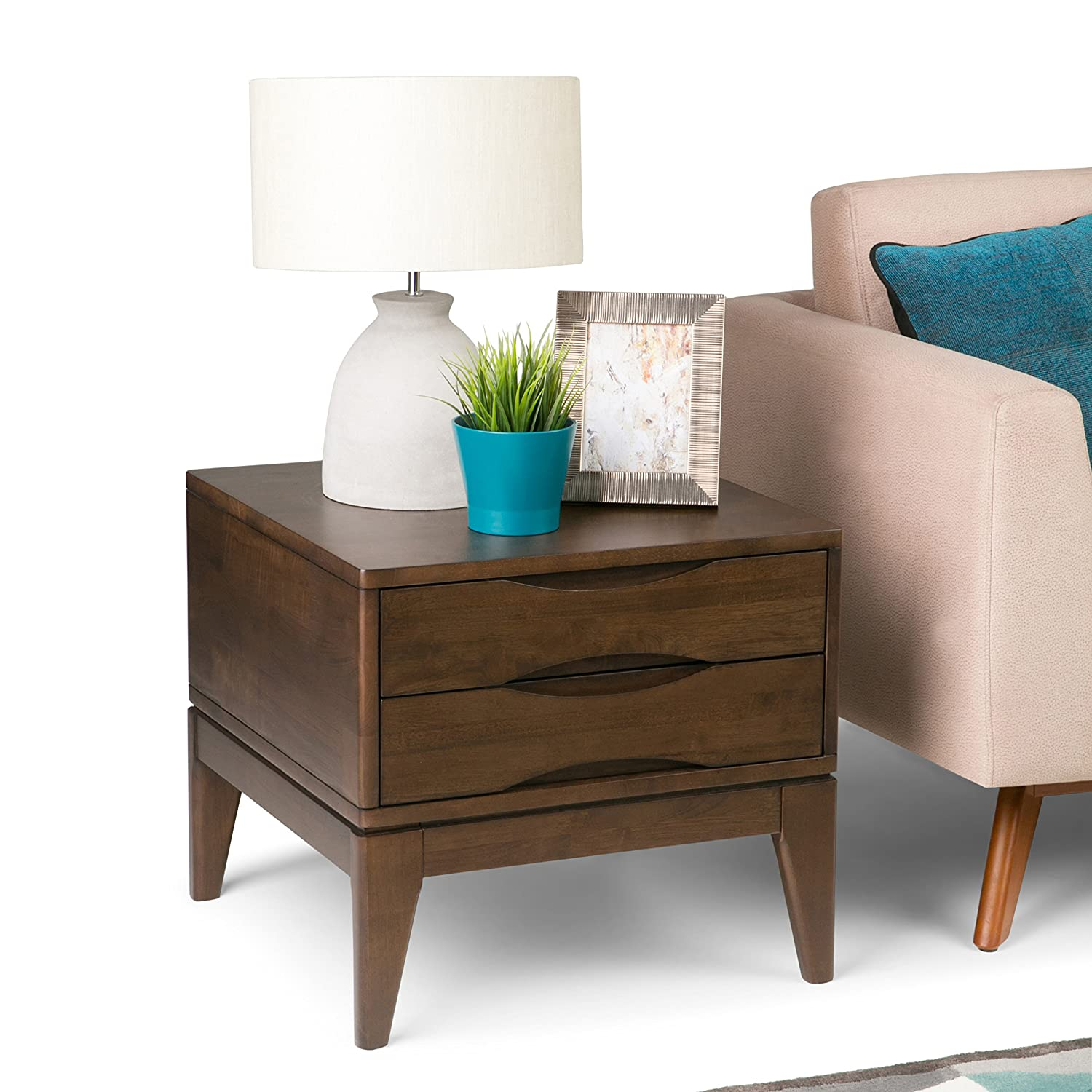 Simpli Home 3AXCHRP-02 Harper Solid Hardwood 22 inch wide Square Mid Century Modern End Side Table in Walnut Brown