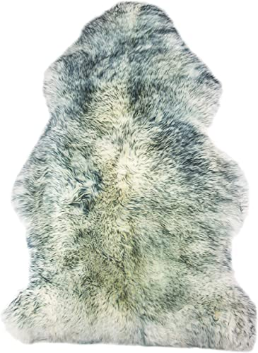 Natural Milan Thick and Lush 2.5 inch Pile Anti-Skid Backing Hypo-Allergenic Premium Quality Luxury New Zealand Shearling 2 x 3 ft Sheepskin Area Rug Throw Single Pelt, Grey Mist