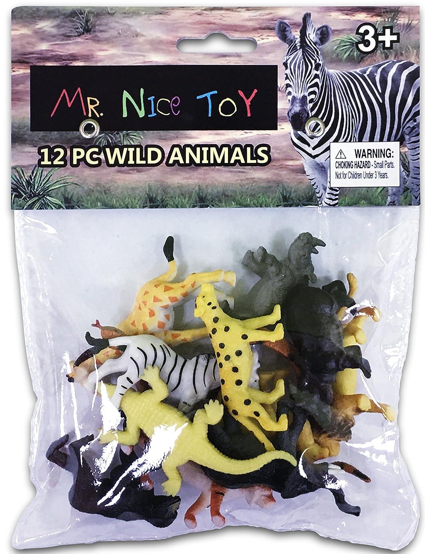 Mr Nice Toy 12 Piece Wild Animal Set Assortment 2 to 3 figures