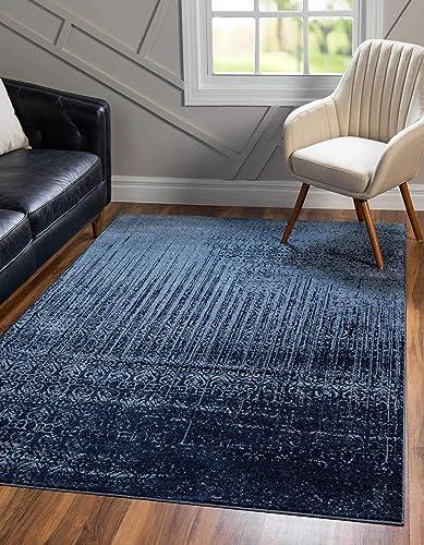 Unique-Loom-Del-Mar-Collection-Contemporary-Transitional-Blue-Area-Rug