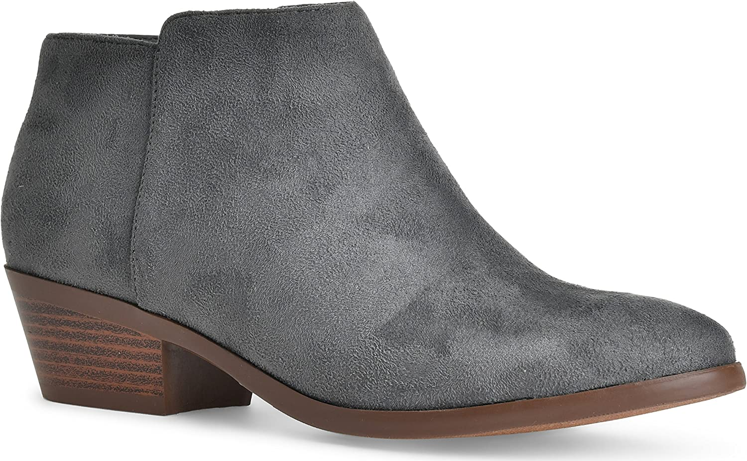 SODA Women's Round Toe Faux Suede Stacked Heel Western Ankle Bootie, Clay, 85 M US