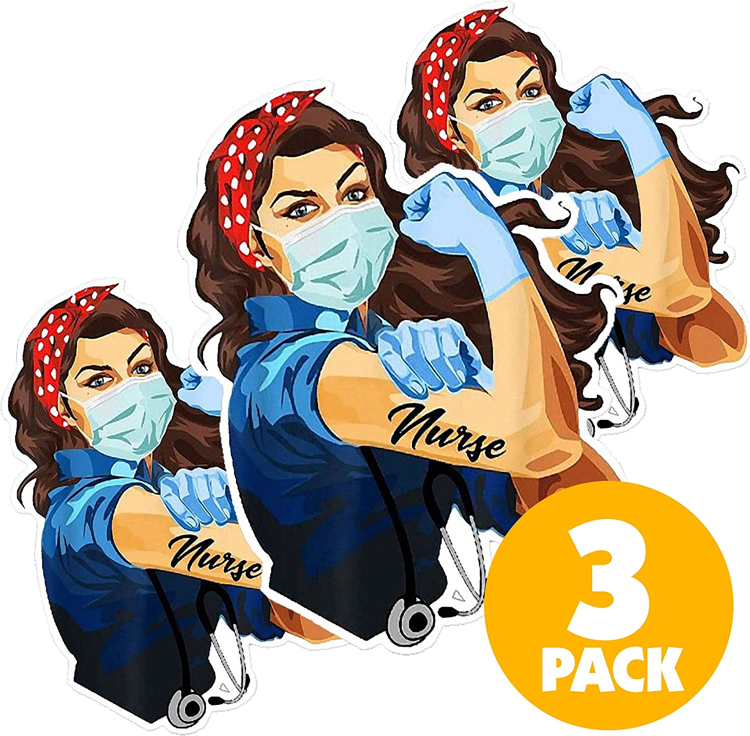 Nurse Laptop Stickers (3 Count) Vinyl Stickers for Hydro Flask to Honor Our Heroes - Waterproof Water Bottle Stickers, Aesthetic Stickers, Scrapbooking Stickers for Adults, Teens and Kids
