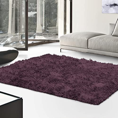 Superior Textured Shag Area Rug, Purple, 5 x 8