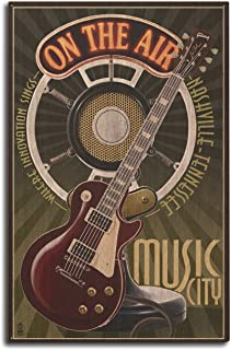 product image for Lantern Press Nashville, Tennesseee - Guitar and Microphone (10x15 Wood Wall Sign, Wall Decor Ready to Hang)