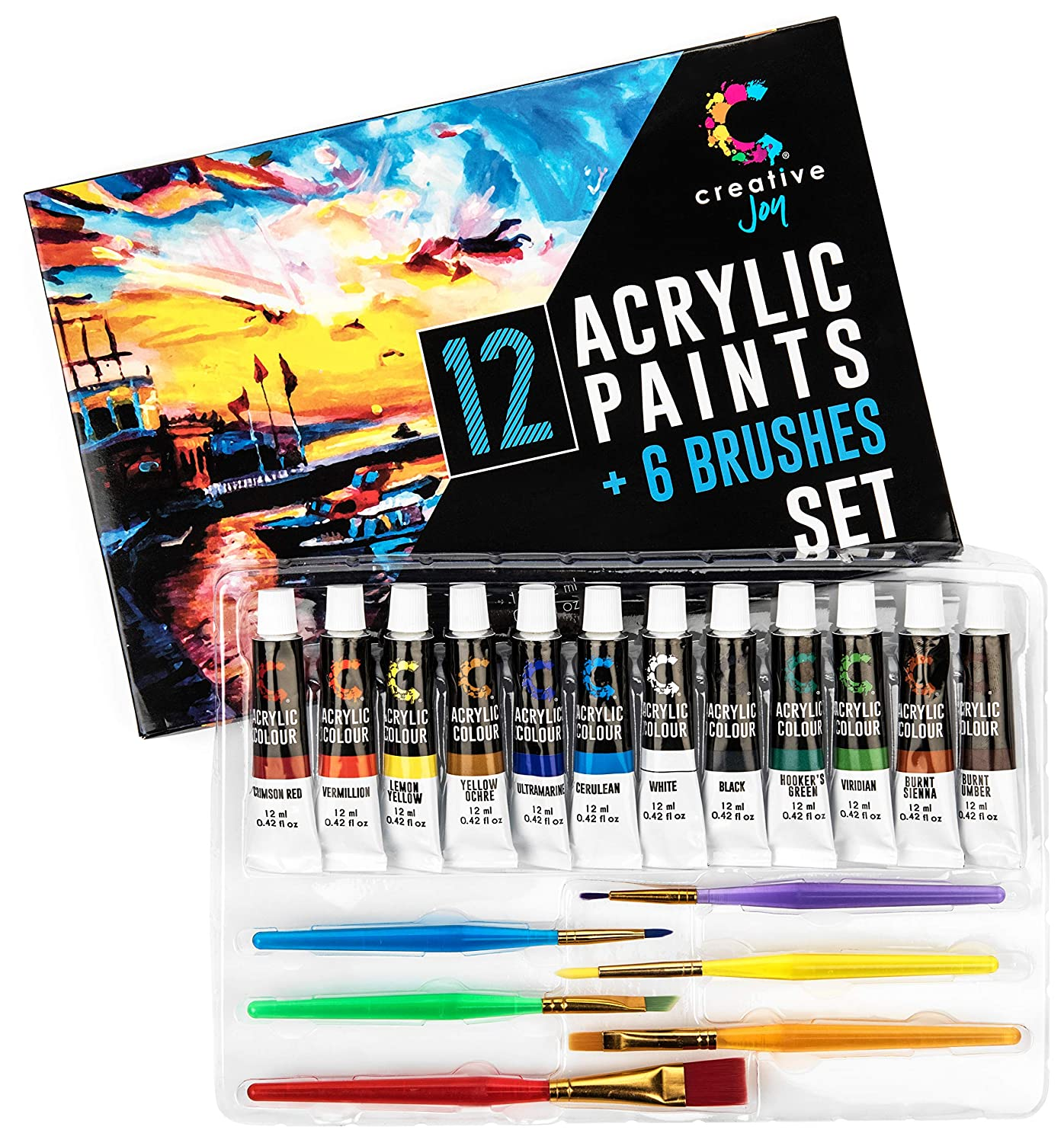 Creative Joy Acrylic Paint Set & Brushes with Rich Pigments in 12 Vivid Colors with 6 Starter Brushes is Great for Beginners and Hobby Painters from Kids Through Adults FBA_CJAPB01
