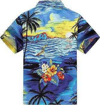 6172d800 Boy Hawaiian Aloha Luau Shirt and Shorts 2 Piece Cabana Set in Blue Sunset