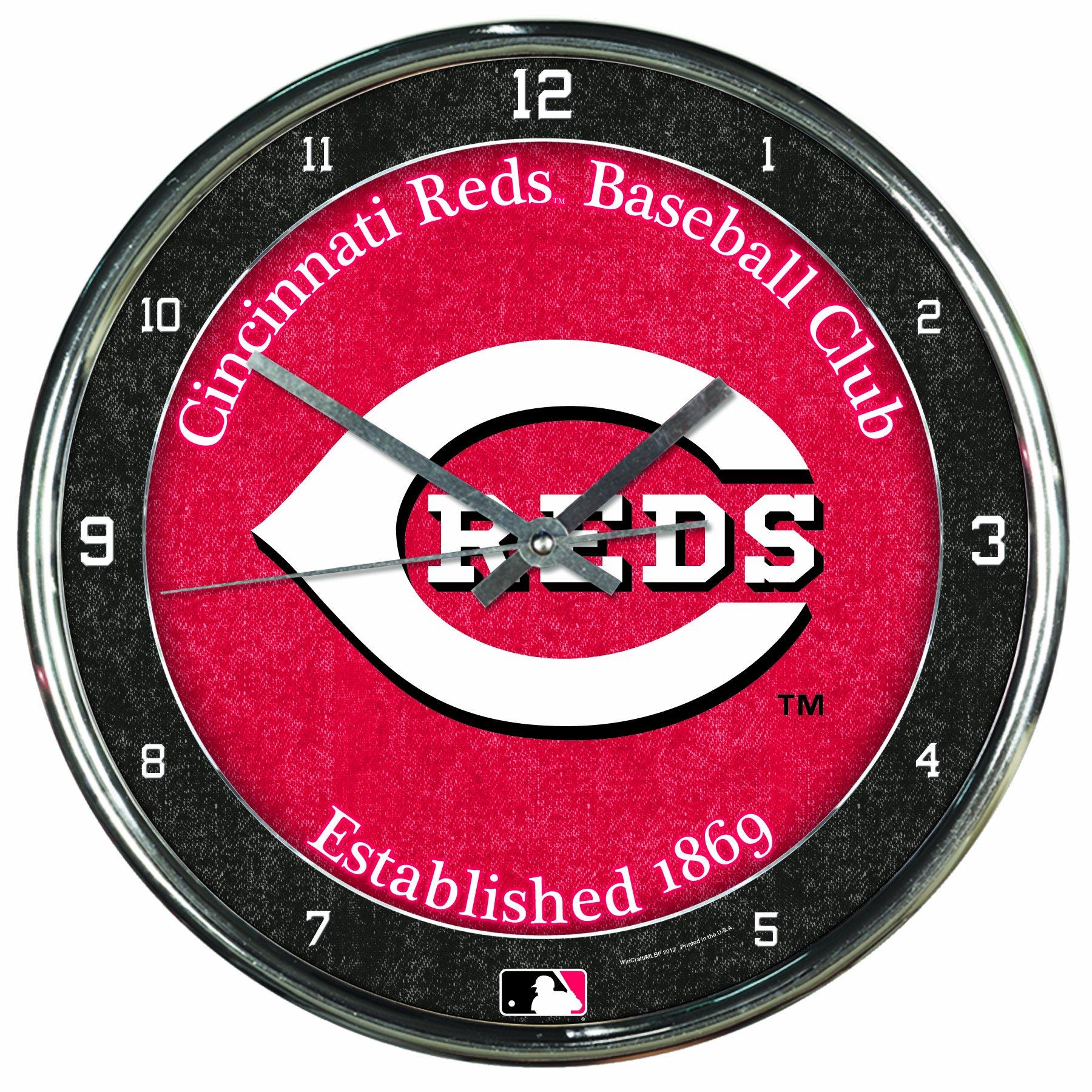 MLB Cincinnati Reds Chrome Clock, 12'' x 12'' by WinCraft