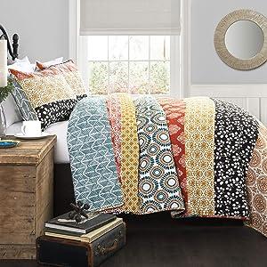Lush Decor Bohemian Striped Quilt Reversible 3 Piece Bedding Set, King, Turquoise