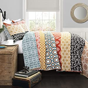 Lush Decor Bohemian Striped Quilt Reversible 3 Piece Colorful Boho Design Bedding Set Full Queen Turquoise