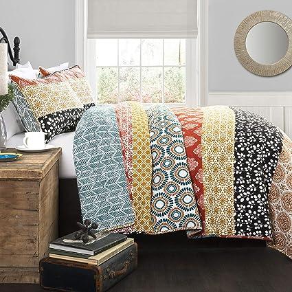 Amazon Com Lush Decor Bohemian Striped Quilt Reversible 3 Piece