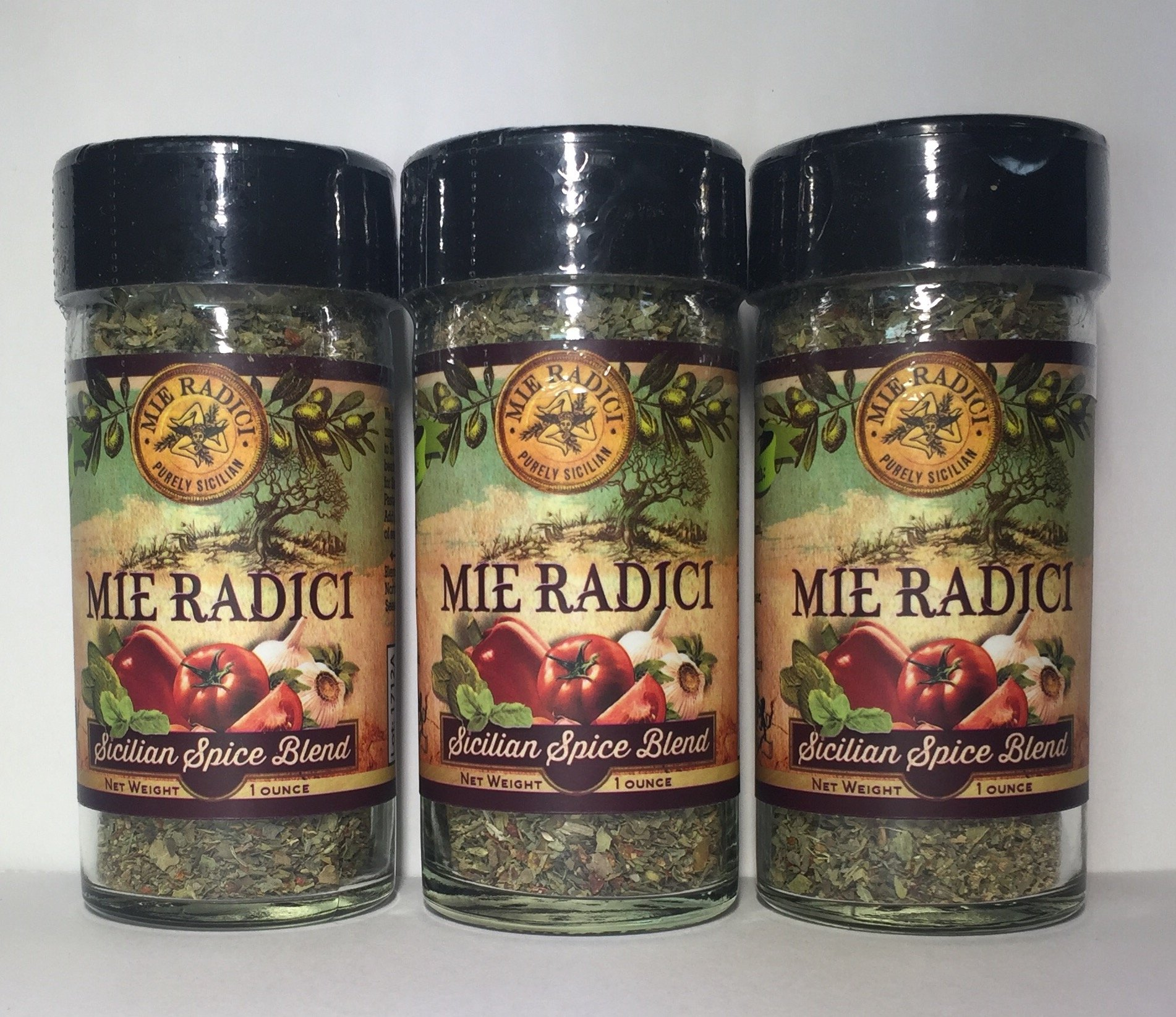 Mie Radici Sicilian Spice Blend. 3- Pack 1.2 oz Jar with Shaker Top