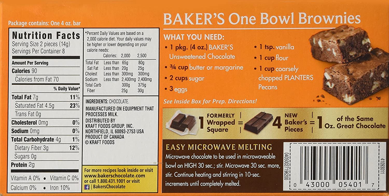 Amazon.com : Baker's Unsweetened Baking Chocolate Bar, 4 Oz (Pack ...