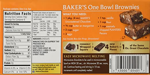 Baker S Semi Sweet Baking Chocolate Bar Recipes