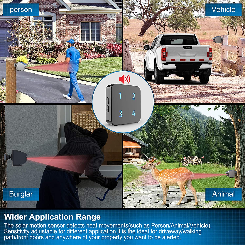1//2 Mile Solar Wireless Driveway Alarm Fully Weatherproof Outdoor Motion Sensor/&Detector DIY Security Alert System Up to 70FT Wide Sensor Range 3 Adjustable Sensitivities