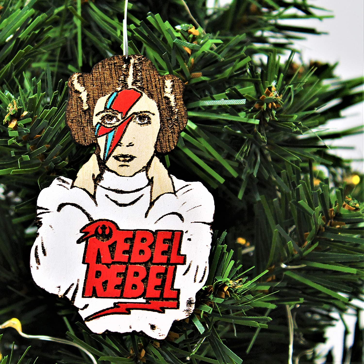 Princess Leia Rebel Rebel Christmas Ornament Hand-Painted Star Wars Rockstar Carrie Fisher Rebel Alliance Mashup Wood Laser Cut Holiday Decoration