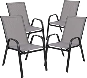 Flash Furniture 4 Pack Brazos Series Gray Outdoor Stack Chair with Flex Comfort Material and Metal Frame
