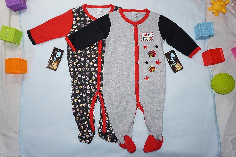 2 Pack Mon Cheri Baby Funny Cute Baby Boys Novelty Sleep N Play Footed Sleepers
