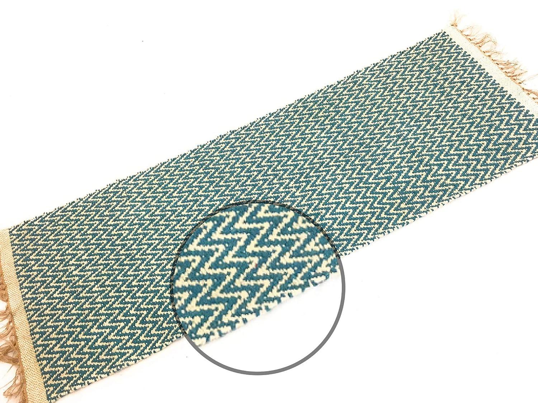 Second Nature Blaugrün Blau natürliches Fischgrätmuster Baumwolle Garn Läufer Läufer Läufer Teppich 70 cm x 200 cm e6e9c7