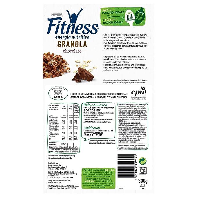 Cereales Nestlé Fitness granola con chocolate - Copos de avena integral y trigo con pepitas de chocolate - 7 paquetes de 300 g: Amazon.es: Alimentación y ...