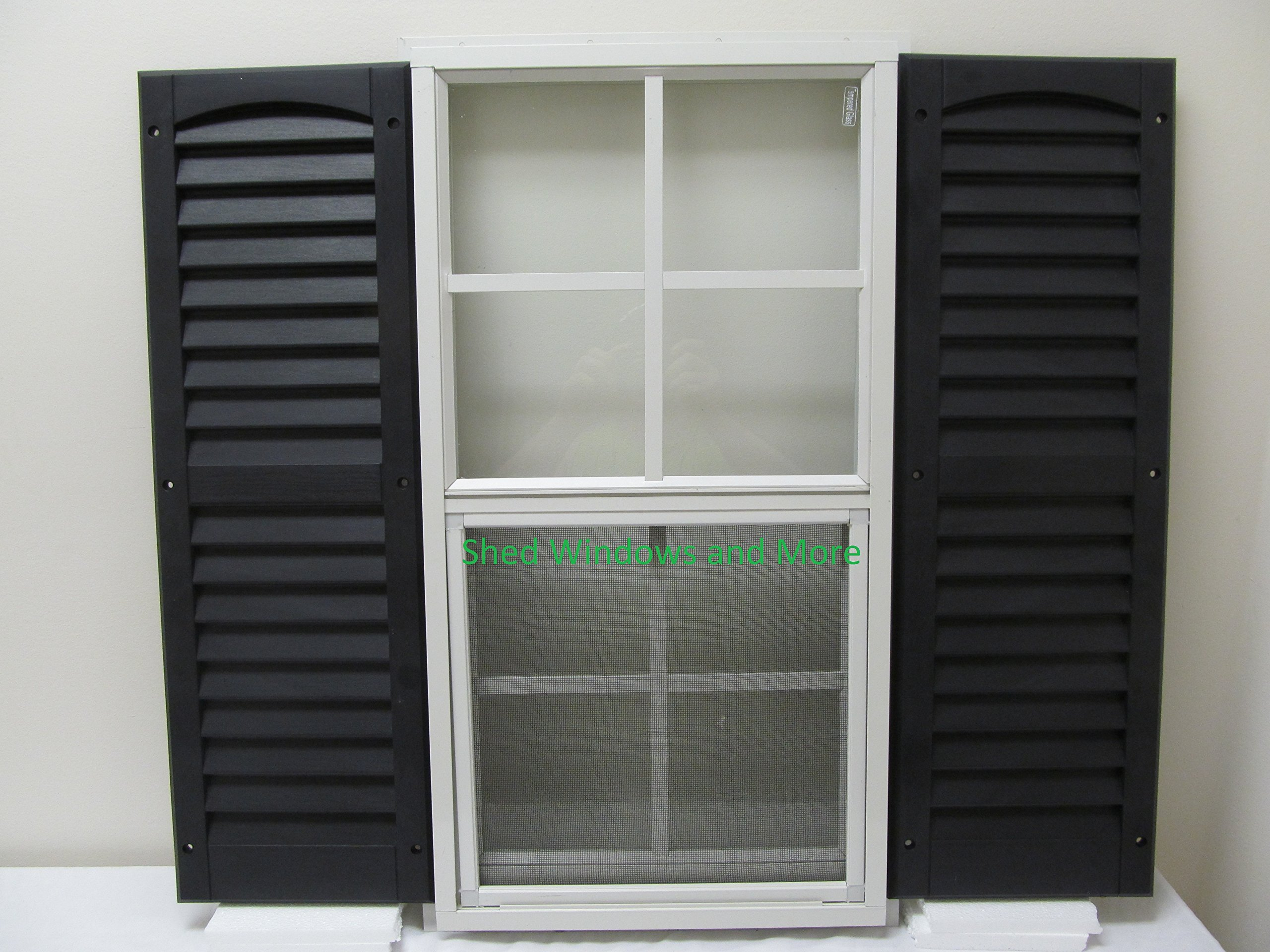 Shed Window with Blue Shutters 14 X 27 White J-Channel Safety Glass Playhouse Window