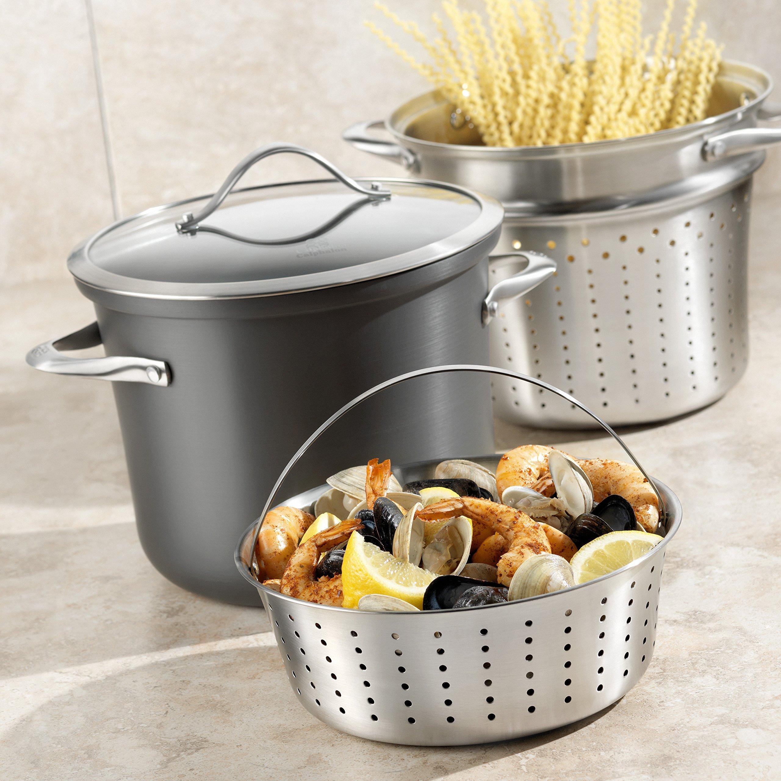Calphalon Contemporary Hard-Anodized Aluminum Nonstick Cookware, Pasta Pot with Steamer Insert, 8-quart, Black by Calphalon (Image #4)