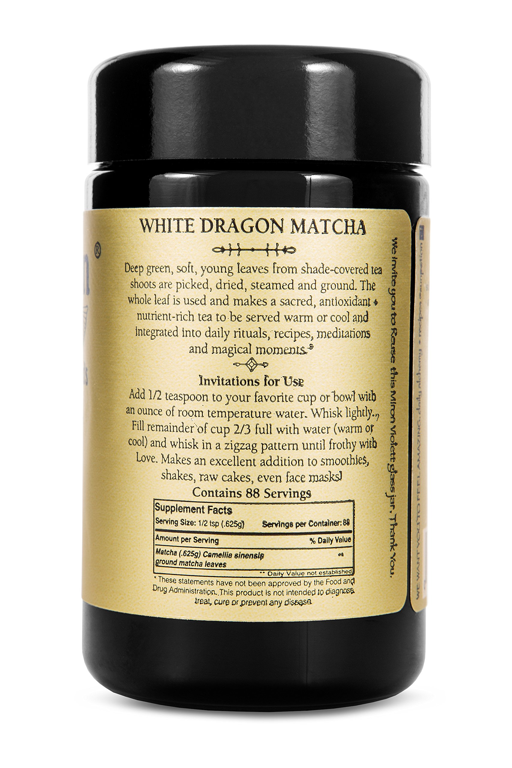 White Dragon Matcha Green Tea Powder 55g by Sun Potion - Boutique Style Organic Ceremonial Grade - Finest Exclusive and Highest Quality - Japanese Superfood - Antioxidant Energy Health Fat Burner