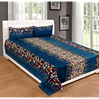 RS Home Furnishing Glace Cotton Double Bedsheet with 2 Pillow Covers