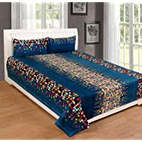 RS Home Furnishing Glace Cotton Double Bedsheet with 2 Pillow Covers, King Size (Multicolour, rs_bds564)