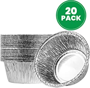 Plasticpro 4.5'' Inch Round Tin Foil Pans Disposable Aluminum, Freezer & Oven Safe Pack of 20