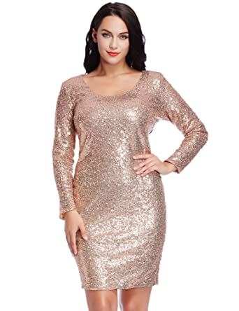 Amazon.com: LookbookStore Women\'s Plus Size Sequin Party Club ...
