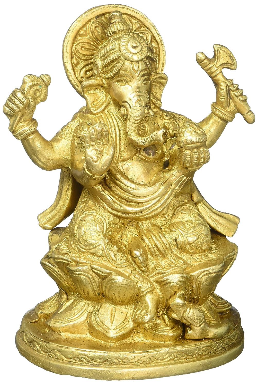 CDM product (Ganesh Vakratunda, Vinayak, Lambodar, Ganpati, Gajanan) Vintage Handmade/Handcrafted Religious Gift Solid Brass Statues/Sculptures of Hindu God Sri Ganesha Home Decor Antique Artifact big image